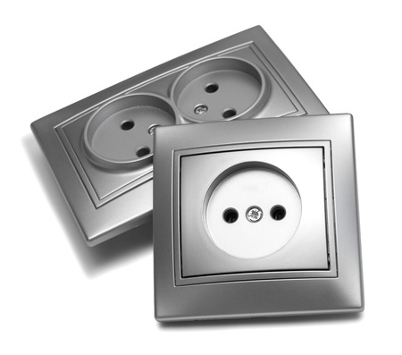 grounded plug: Three gray outlet isolated on white background Stock Photo