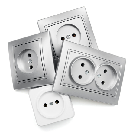 Gray and white outlet isolated on white background Stock Photo