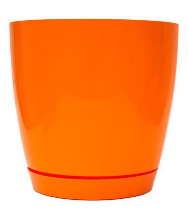 flower pot: Orange flower pot isolated on white background Stock Photo