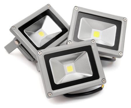 Three led projector isolated on white background