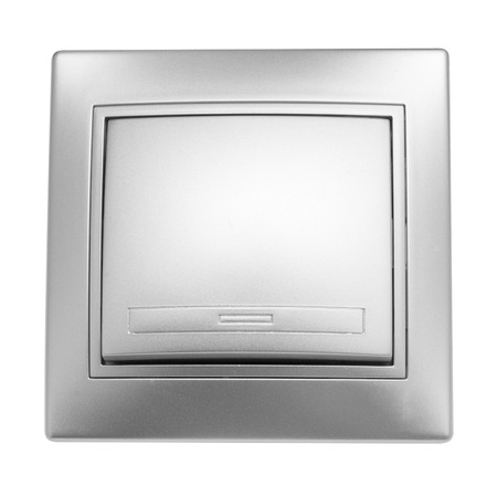 voltage gray: Grey light switch isolated on white background Stock Photo
