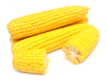 A corn isolated on white background. Flat lay, top view