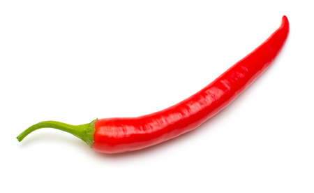 Red chili pepper isolated on a white background. Flat lay, top view Stock Photo