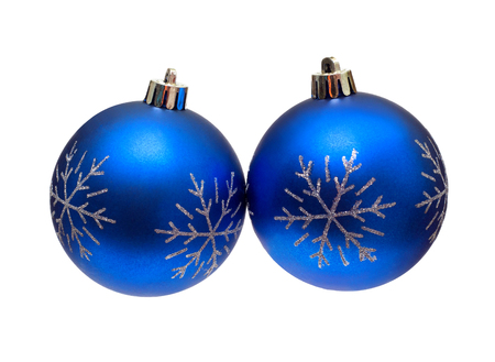 Two beautiful blue Christmas ball isolated on white background