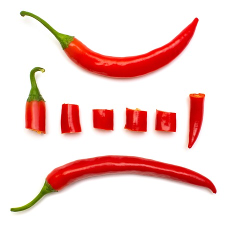 Collection red chili pepper cut into slices isolated on white background. Creative spicy sharp. Flat lay, top view