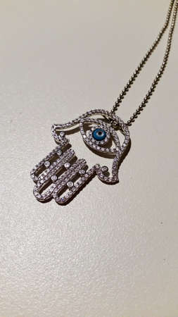 diamond necklace: Hand of Fatima Evil Eye Diamond Necklace
