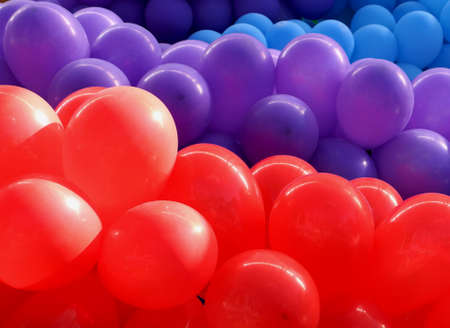 od: Group od red, violet and blue balloons