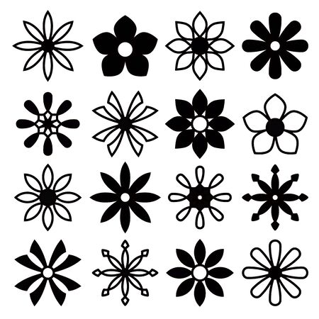 decorate: flower icon set for decorate design