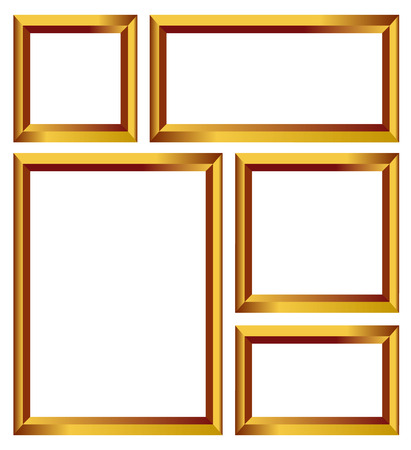 Set of gold frames, golden borders isolated on white background