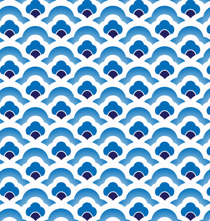 sea waves: Seamless porcelain indigo blue and white simple art decor wave pattern vector, chinese blue pattern