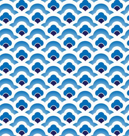 Sin fisuras índigo porcelana azul y blanco simple arte patrón de onda vectorial decoración, modelo azul chino