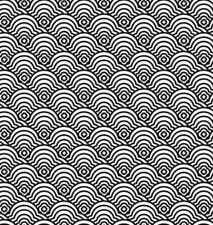 중국 원활한 패턴 벡터, 파도 패턴 그림 일러스트