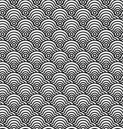 chinese seamless pattern vector, waves pattern illustration Vettoriali