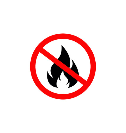 No Fire Sign, No Fire icon, No flame sign icon, Stop fire symbol
