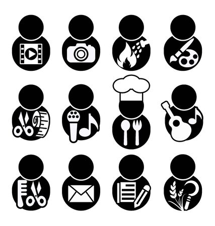 minstrel: occupation icons, occupation symbol vector illustration, Photographers Video, photographer, Firefighters, Artist, barber, singer, chef, musician, Tailor, seamstress, postman, Writer,