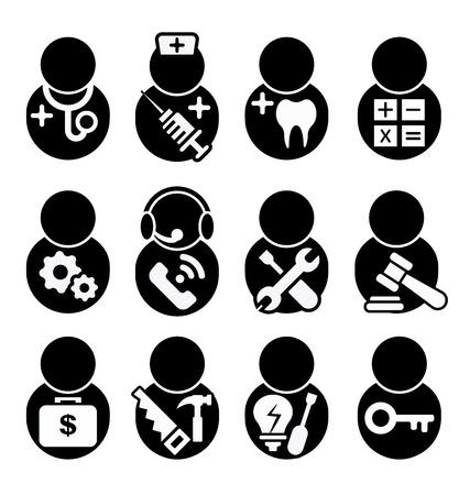 Beruf Icons Set, Beruf Symbole Symbol Vektor, Arzt, Krankenschwester, Zahnarzt, Buchhalter, Ingenieur, Call Center, Techniker, Rechtsanwalt, Finanzier, Rechtsanwalt, Investor, Tischler, Elektriker, Schlosser Standard-Bild - 60746691