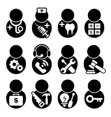 solicitor: occupation icons set, occupation icons symbol vector, doctor, nurse, dentist, accountant, engineer, call center, technician, Lawyer, financier, attorney, Investor,carpenter, electrician, Locksmith