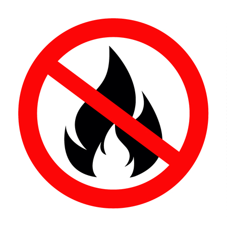 No Fire Vector Sign icon symbol, No flame sign icon