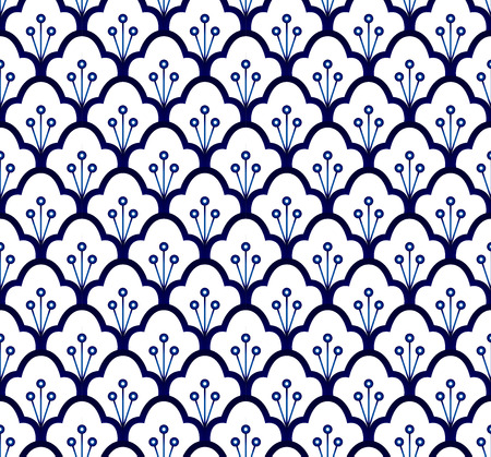 Seamless porcelain indigo blue and white, simple art decor vector, ceramic pattern design, china ware background