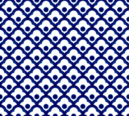 Seamless porcelain indigo blue and white simple art decor wave pattern vector, Chinese blue pattern, ceramic design floor and wall