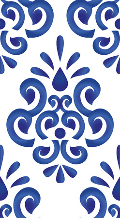 Floral ornament on watercolor backdrop, blue and white ceramic tile pattern seamless vector illustration. Cute porcelain background design damask style.