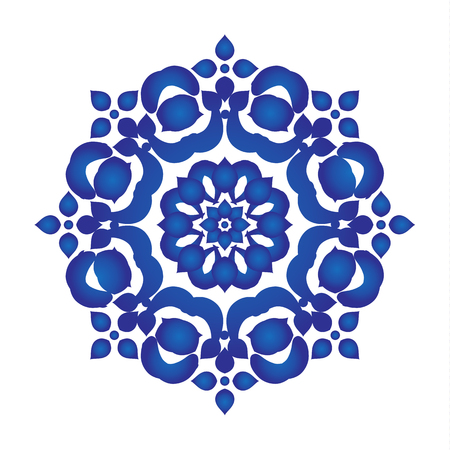 Madala Pattern blue and white, Abstract vector floral ornamental border, ceramic watercolor background design, kaleidoscope, yoga, india, arabic, vector illustration.
