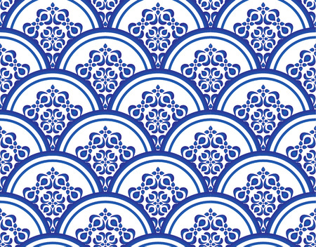 Blue and white seamless pattern vector illustration, Floral ornament on watercolor backdrop. Chinese porcelain painting design. Vettoriali