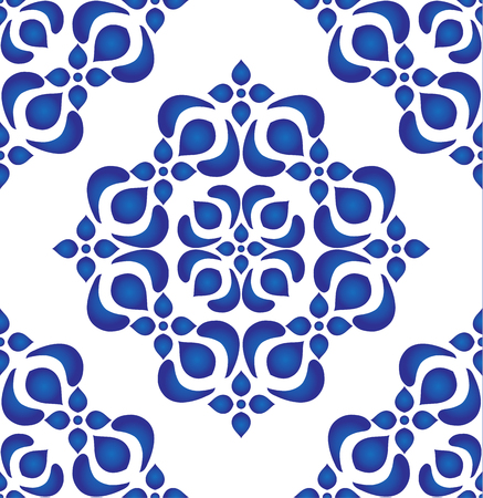 Floral ornament on watercolor backdrop, blue and white ceramic tile pattern seamless vector illustration.
