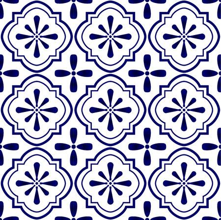 ceramic tile pattern vector, Porcelain background design, blue and white floral decor vector illustration Ilustrace