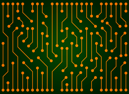 Circuit board vector background green and gold color