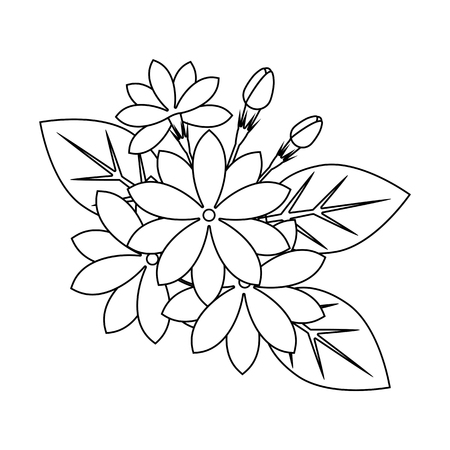 Jasmine Flowers Outline For Coloring Book Beautiful Floral Vector Illustration Stock