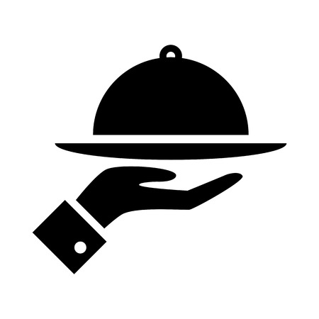 Covered food tray on a hand of hotel room service vector icon.