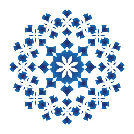 Abstract Flower Mandala, Blue and white decorative for design ceramic, tile, porcelain, Chinese pattern. vector illustration. Illustration