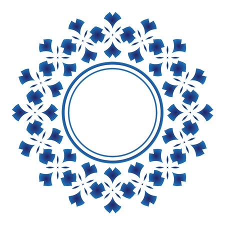 Water color blue ornamental round, Decorative art frame, Abstract vector floral ornament border, porcelain pattern design. China blue and white background.
