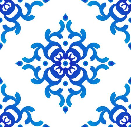 nahtloser blauer und weißer Mustervektor, Porzellanhintergrund, chinesische Beschaffenheit, Keramikziegeldesign