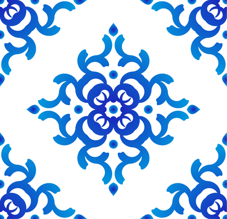 seamless blue and white pattern vector, porcelain background, Chinese texture, ceramic tile design Stockfoto - 97574839
