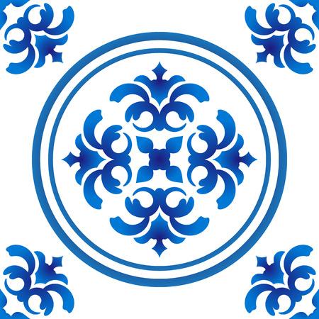 seamless blue and white pattern for design, porcelain, chinaware, ceramic tile, ceiling design, texture vector illustration