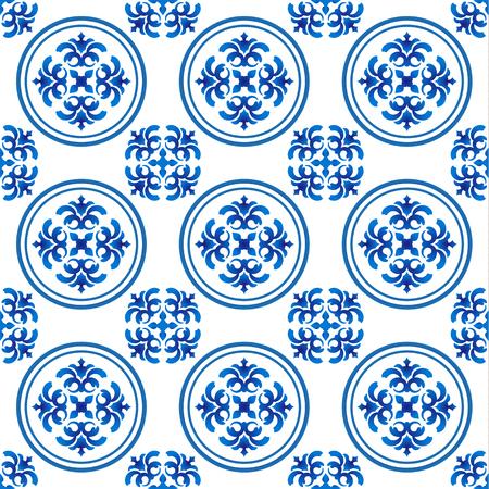 Chinaware-Muster, nahtloses Blau und Weiß für Design, Porzellanhintergrund, chinesische Beschaffenheit, Keramikziegel, Vektorillustration