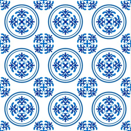 Chinaware pattern, seamless blue and white for design, porcelain background, Chinese texture, ceramic tile, vector illustration