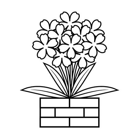 Coloring book flower in flowerpot, Cute floral outline vector illustration Ilustração