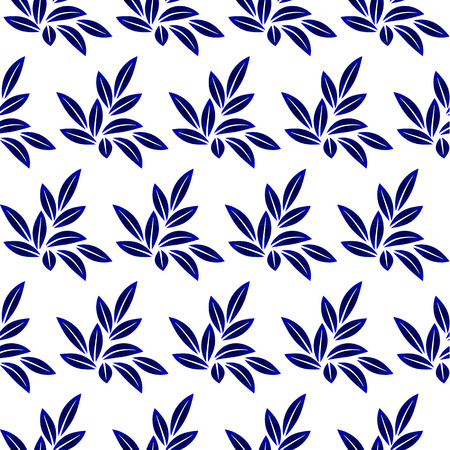 Blue and white leaves seamless  pattern design for ceramics