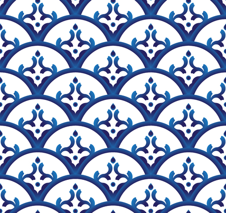 Seamless porcelain indigo blue and white simple art decor wave pattern vector, Chinese, Thailand and Japan ceramic design