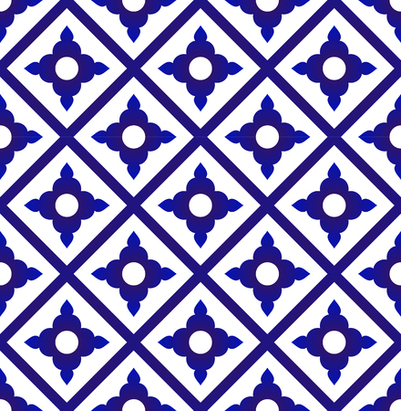seamless Thai pattern, blue and white modern shape for design, porcelain, chinaware, ceramic tile, ceiling design, texture, wall, paper and fabric, vector illustration Illustration