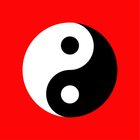 Yin Yang icon on red background, Taoism symbol vector illustration. Çizim