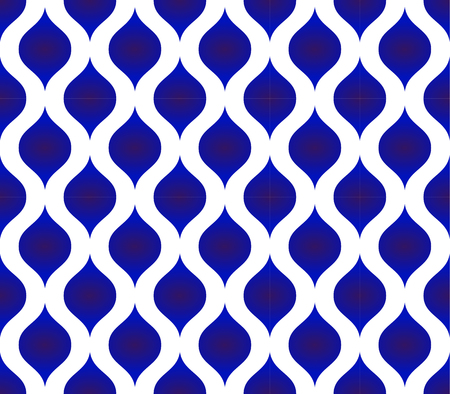 A seamless Thai pattern, Abstract blue and white modern shape background for design, porcelain, chinaware, ceramic tile, ceiling, texture, wall, paper silk and fabric, vector illustration Illustration