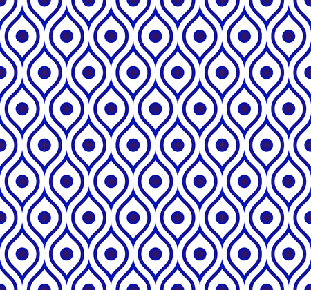 A seamless Thai pattern, Abstract blue and white modern shape background for design, porcelain, chinaware, ceramic tile, ceiling, texture, wall, paper silk and fabric, vector illustration  イラスト・ベクター素材
