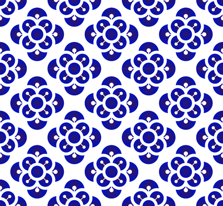 Ceramic flower backdrop Chinese style, seamless blue and white pattern background for design, porcelain, chinaware, ceramic, tile, ceiling, texture, wallpaper, floor and wall, vector illustration