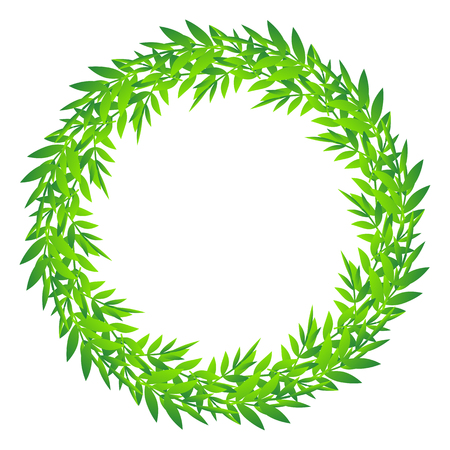 Cute foliage round frame, Decorative Abstract floral ornament border, a wreath of bamboo leaves and branches design, vector illustration