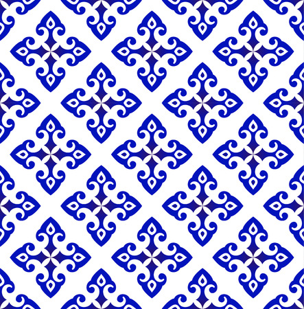 Ceramic flower backdrop Islamic style, seamless blue and white pattern background for design, porcelain, chinaware, ceramic, tile, ceiling, texture, wallpaper, floor and wall, vector illustration  イラスト・ベクター素材