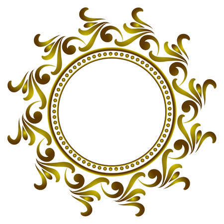 Royal golden round frame, Decorative art frame, Abstract vector floral ornament border for your design